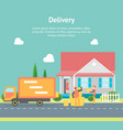 cartoon delivery service concept card poster vector image