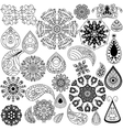 Henna doodle elements on white background vector image