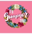 Summer Time Lettering Background with floral vector image