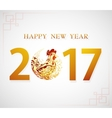 Happy New Year Greeting card for 2017 with Rooster vector image