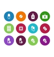 Pills medication circle icons on white background vector image