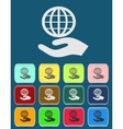 hand and earth sign in flat style vector image