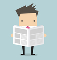 Businessman standing and reading a newspaper vector image vector image