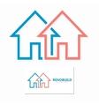 minimal house line logo design vector image