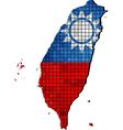 Taiwan map with flag inside vector image