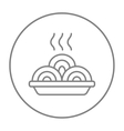 Hot meal in plate line icon vector image