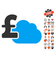 Cloud pound banking icon with lovely bonus vector image
