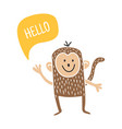 hello monkey vector image
