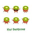 kiwi smiles cute cartoon emoticons emoji icons vector image