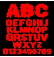 Set of red studded scary alphabet vector image