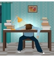 Tired student fall asleep on the book vector image