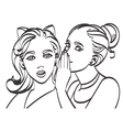 Two young beautiful women talking about something vector image