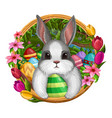 white bunny in frame with eggs and flowers vector image vector image