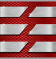 red metal perforated background with steel plates vector image
