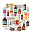 medicine pharmacy concept drug medication set vector image vector image