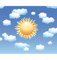 Sun and clouds in the sky vector image