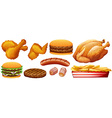 Fast food junk on white vector image
