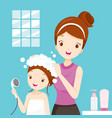 mother washing daughter hair in bathroom vector image