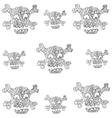 Skull set ornament in doodle halloween vector image