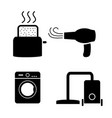 toaster hair dryer washing vacuum cleaner icons vector image