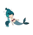 Beautiful little mermaid and the tortoise vector image