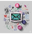 Envelope and collage with web icons background vector image