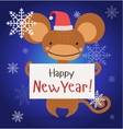 New Year Christmas monkey ape wild cartoon animal vector image