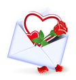 Envelope with valentine hearts vector image