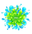 Blue and green paint splash on white background vector image