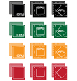 collection of microprocessors vector image