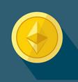 ethereum icon as golden coin vector image