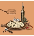 Pizza with bottle of garlic oil vector image