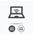 Computer with wifi icon Notebook or laptop pc vector image
