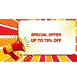 Megaphone with SPECIAL OFFER UP TO 70 PERCENT OFF vector image