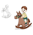 Boy on horse vector image