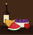 color brown scene with wine bottle and set fruits vector image
