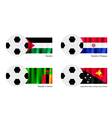 Football with Palestine Paraguay Zambia Flag vector image