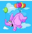 happy flying elephant cartoon vector image