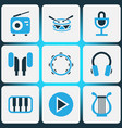 music colored icons set collection of drum piano vector image