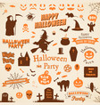 set of halloween labels and elements vector image