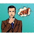 Businessman thinking and comic speech bubble vector image vector image
