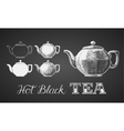 Set of teapots drawn on chalkboard vector image