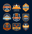 Camping flat set with hiking equipment logo vector image