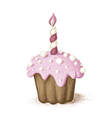 Hand drawn pink celebration muffin vector image