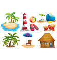 summer set with island and bungalow vector image vector image