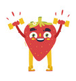 funny strawberry working out lifting dumbbells vector image