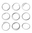 Set hand drawn ovals felt-tip pen circles vector image