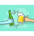 Beer toasting on blue background hands vector image
