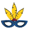 brazil carnival mask feathers sketch vector image
