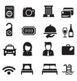 hotel silhouette icons set vector image